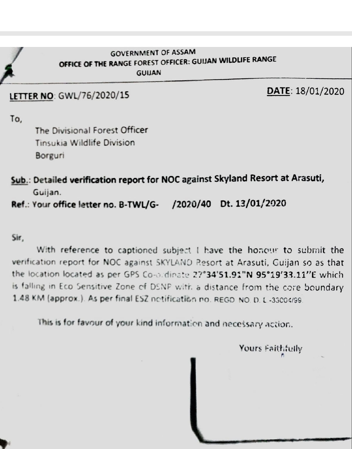 Copy of the report issued by the Guijan forest range officer