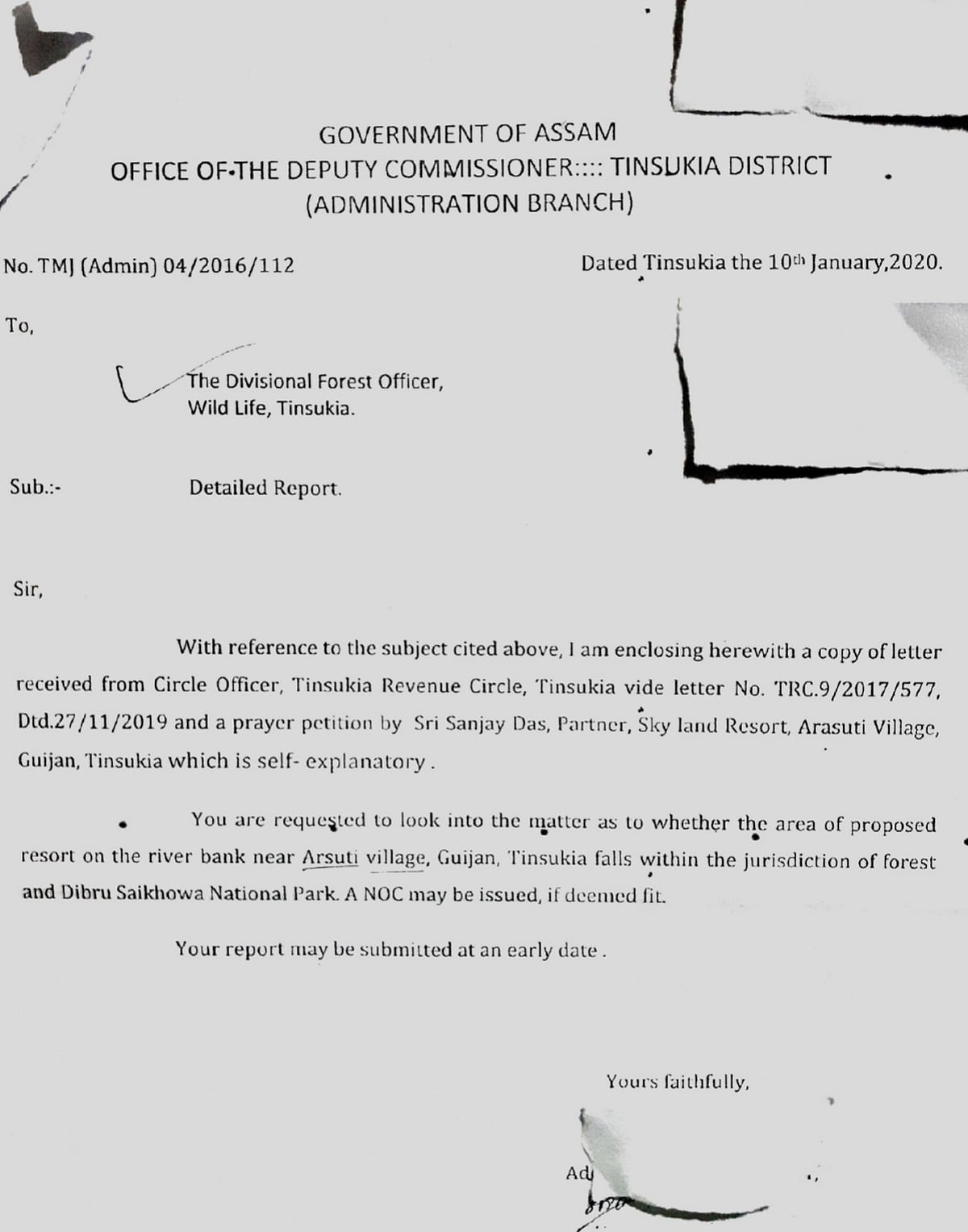 Copy of letter issued by office of the deputy commissioner of Tinsukia