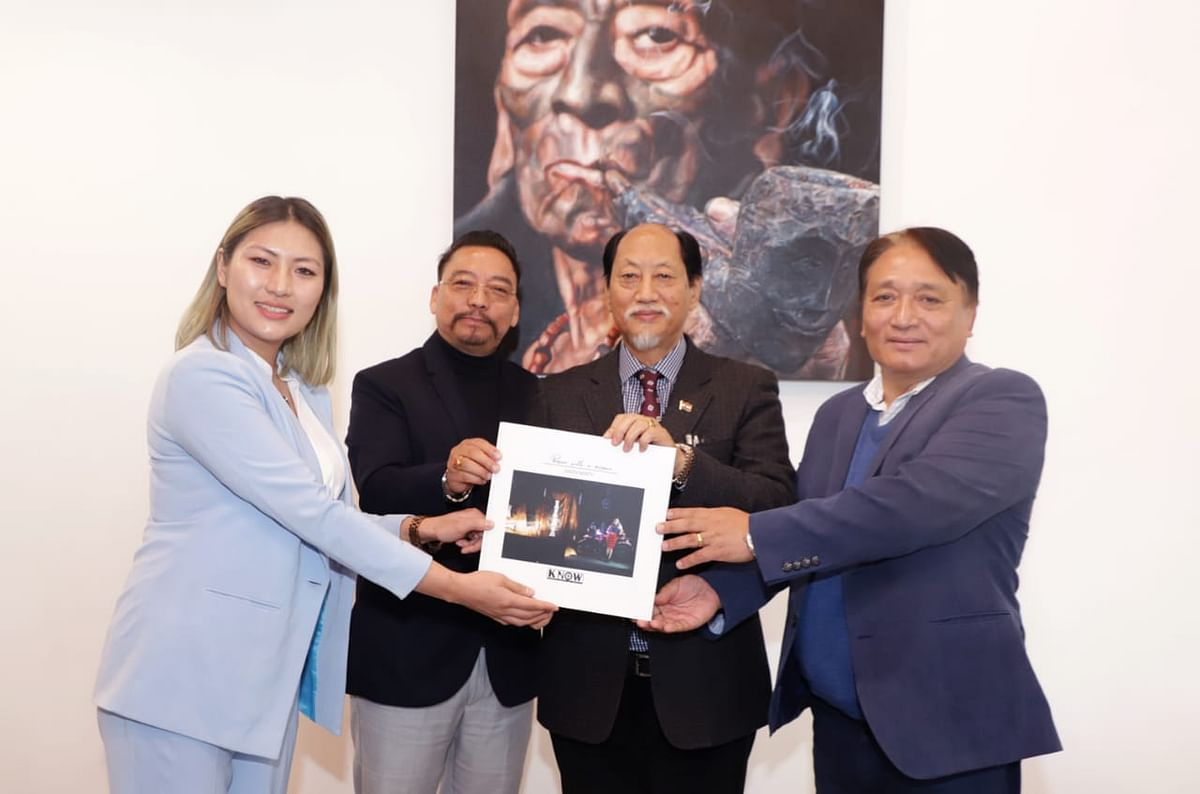 (From left) Onen Nenty along with  minister for tourism, art & culture H Khehovi, chief minister Neiphiu Rio and minister for rural development Metsubo Jamir, at the launch of her coffee-table book in Kohima on Saturday