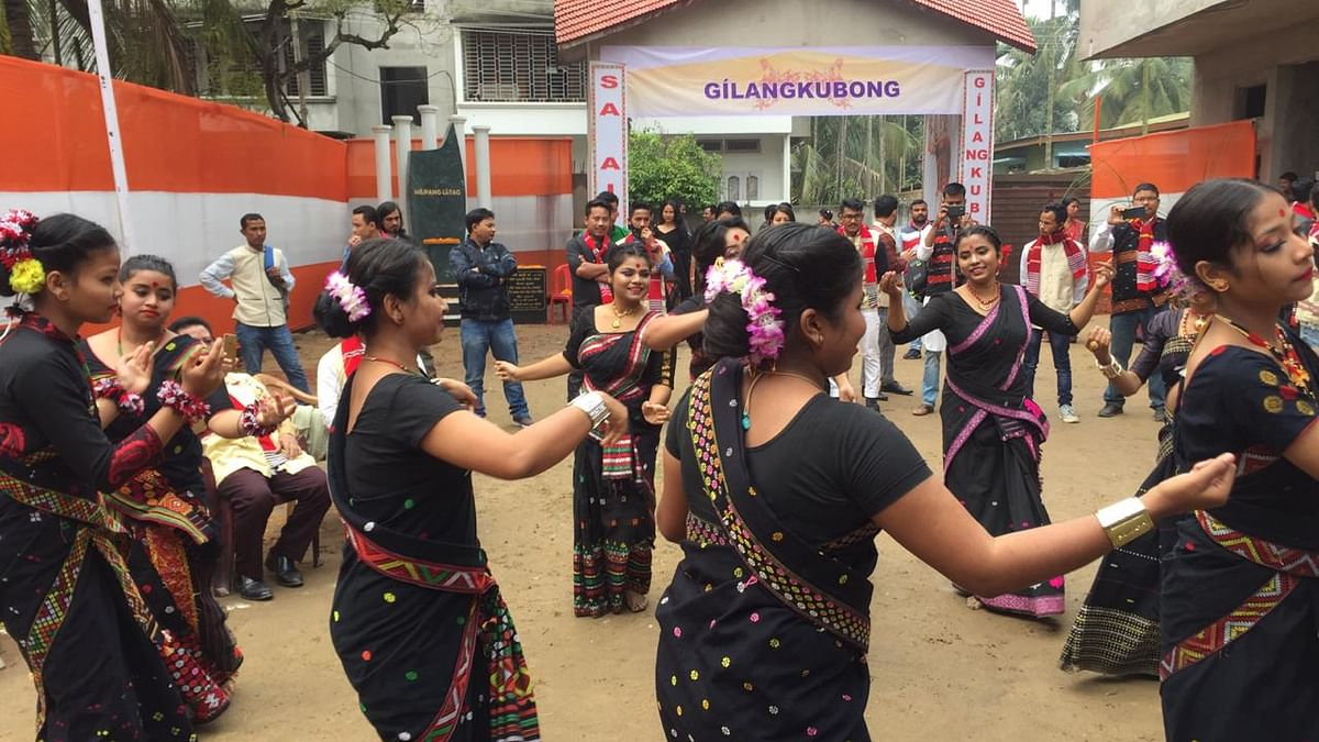 Young Mising girls participating in a 'Gumrag' dance at Murong Okum in Japorigog area of Guwahati in Assam
