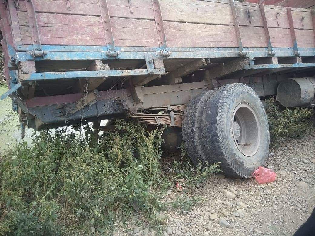 The truck that hit the MLA's SUV