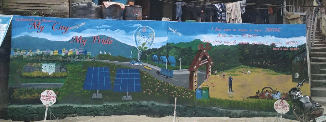 A photo of the wall at New Market (Ward 8) that won the wall painting competition organised by the Kohima Smart City Development Limited