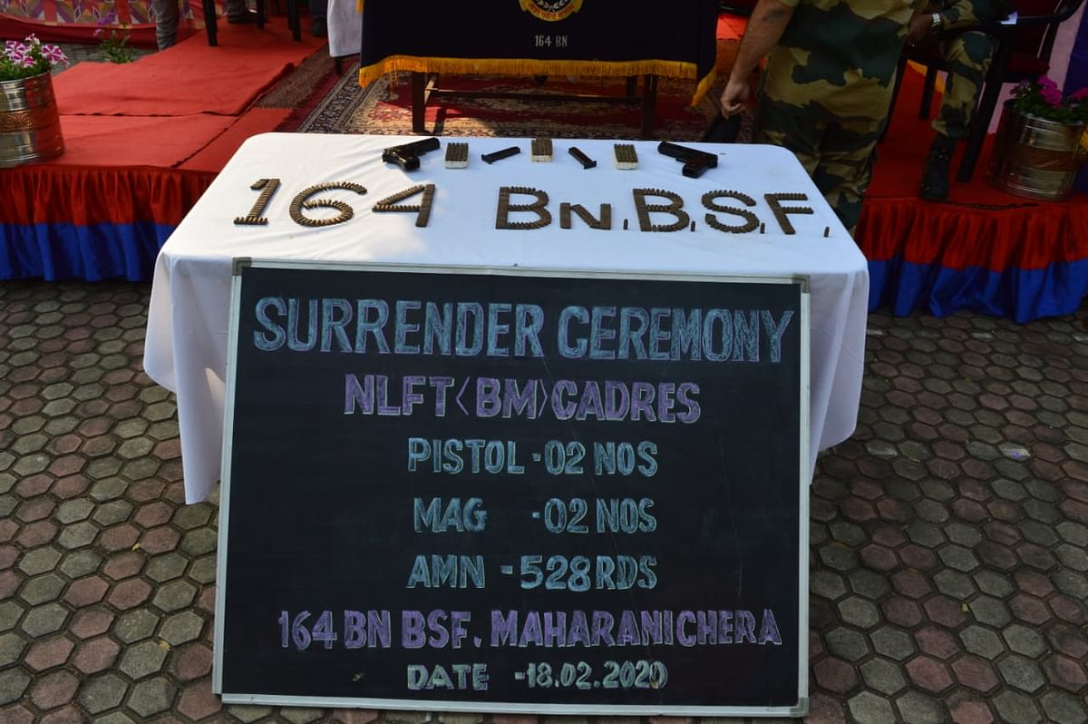The surrendered weapons and ammunition displayed by the BSF