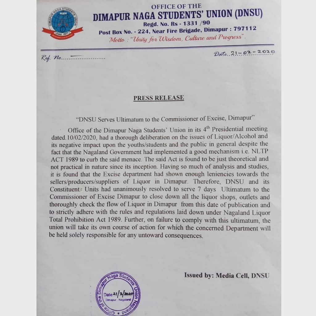 The press release that was issued by the Dimapur Naga Students' Union on Friday after its fourth presidential meeting held on February 10 this year