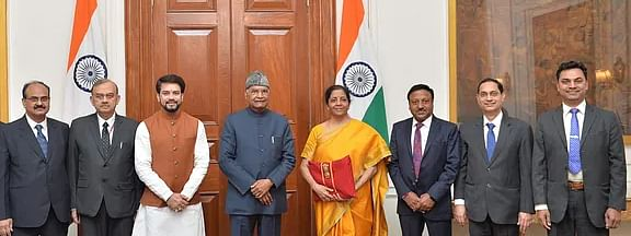 Finance minister Nrimala Sitharaman and her team with President Ram Nath Kovind before presenting Budget 2020