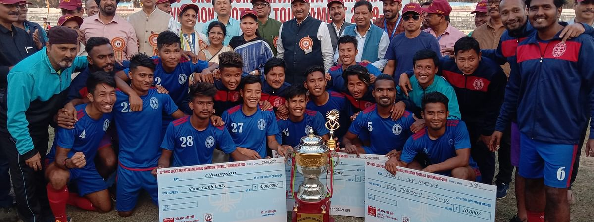 Assam State Electricity Board (ASEB) defeated Collge Veng Sports Club by 1-0 and lifted the champions trophy