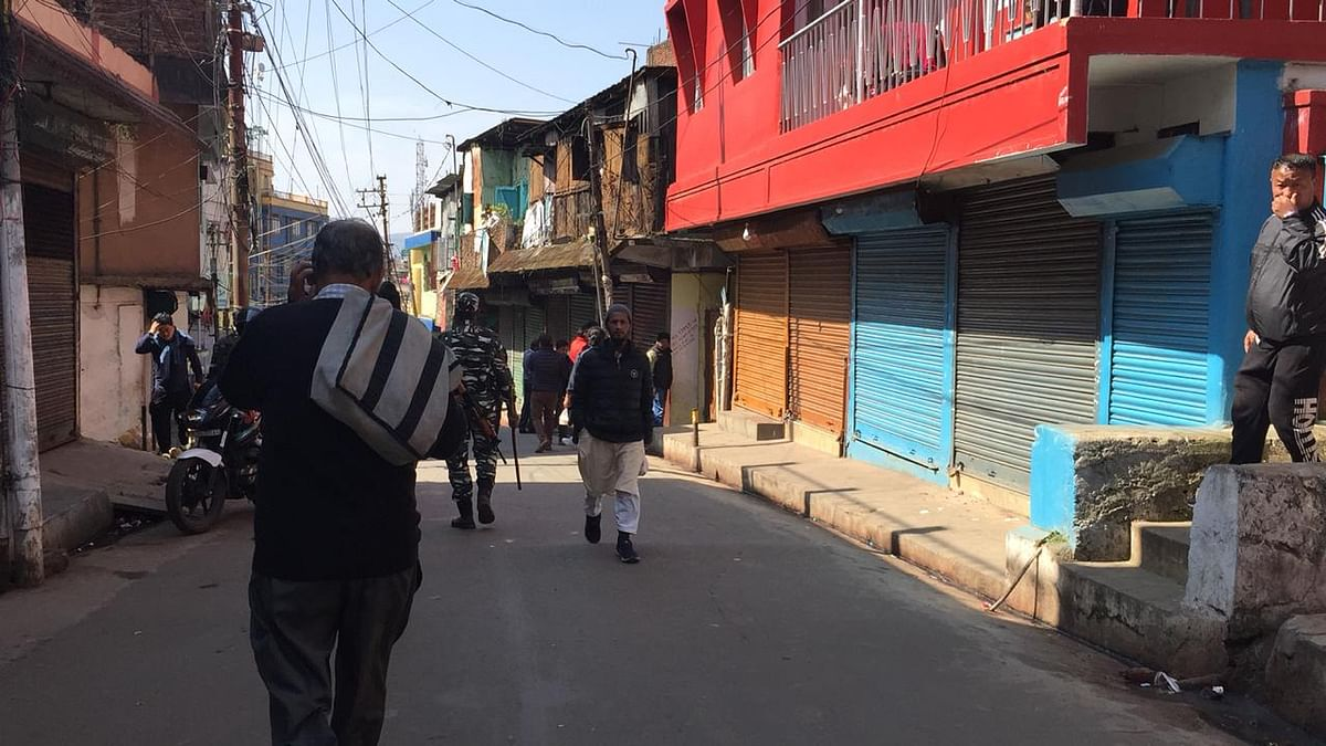 Bara Bazar wearing a deserted look following the stabbing incidents on Saturday morning in which one person lost his life