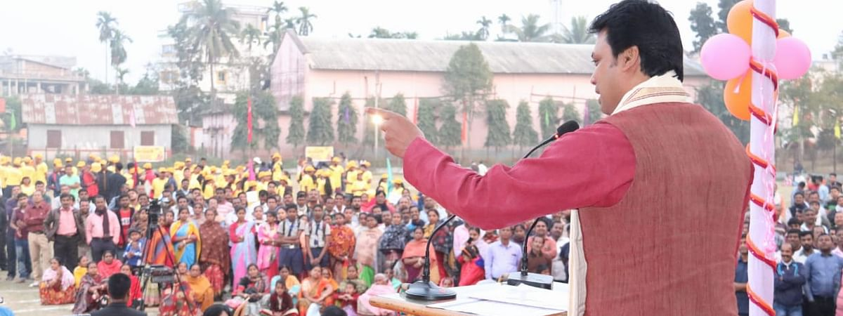 Chief minister Biplab Kumar Deb addressing a meeting