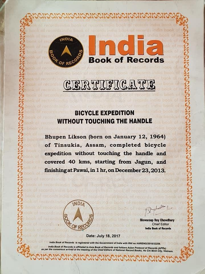 Bhupen Likson has his name in India Book of Records for cycling 40 km starting from Jagun and finishing at Pawai in 60 minutes without touching the handles