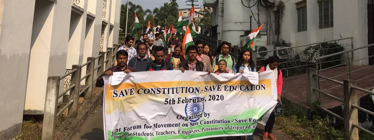 A joint forum of Tripura University staging protest in their campus