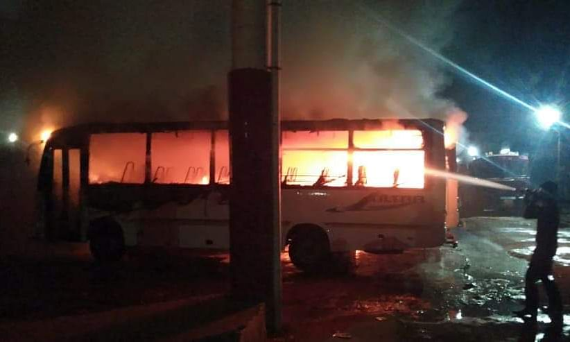 Tripura: 5 buses parked at Rajarbagh motor stand gutted in fire
