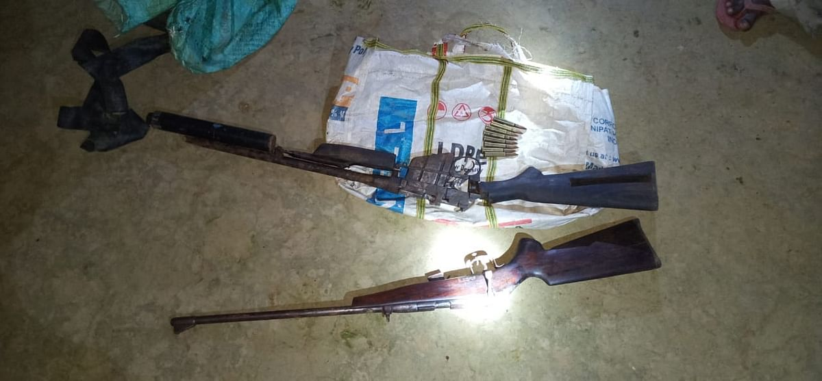 Police recovers a huge cache of arms and ammunition from the possession of the dreaded rhino poacher