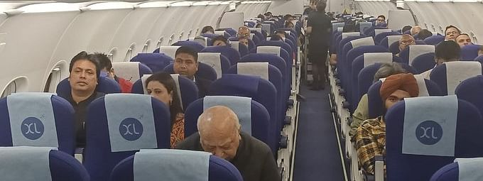 The CM was traveling in an IndiGo flight from Indore to New Delhi on Wednesday