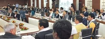 Dignitaries attending  a meeting duringNorth East Sustainable Development Goals Conclave 2020 in Guwahati on Monday