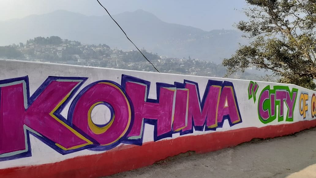 A street wall in Kohima