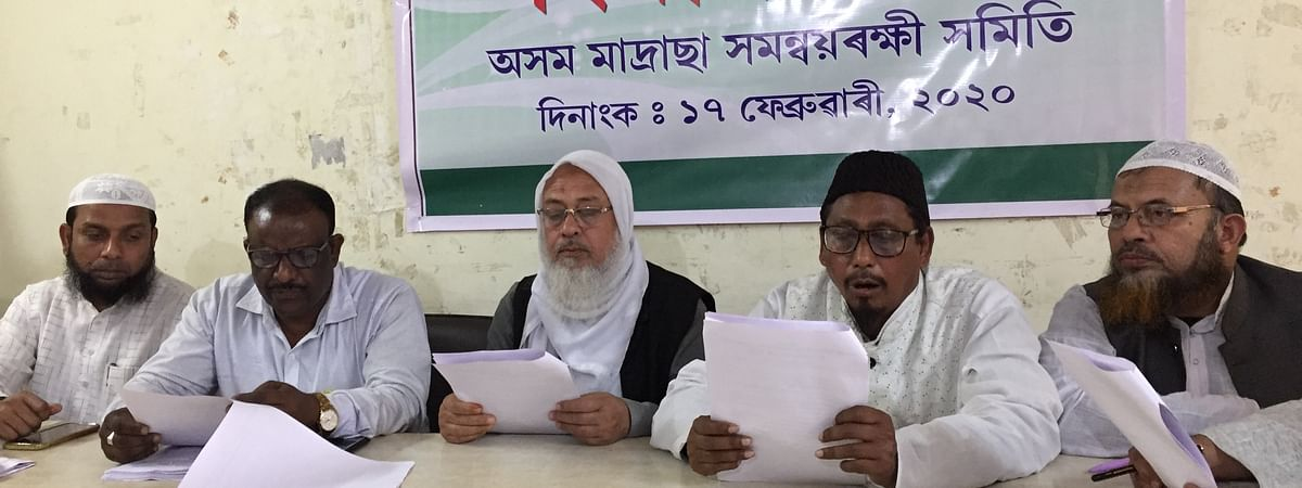 Assam Madrassa Coordination Committee during a press conference in Guwahati on Monday