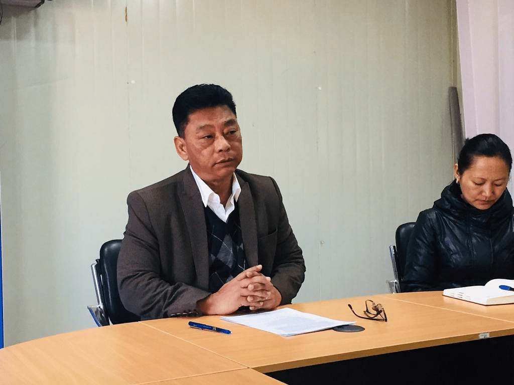 Kovi Meyase, CEO of Kohima Smart City Development Limited (KSCDL), addressing a press conference on Friday at the KSCDL conference hall in Kohima