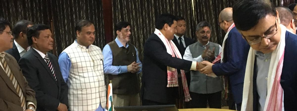 High level committee for implementation of Clause 6 of Assam Accord submits report to Assam chief minister Sarbananda Sonowal in Guwahati