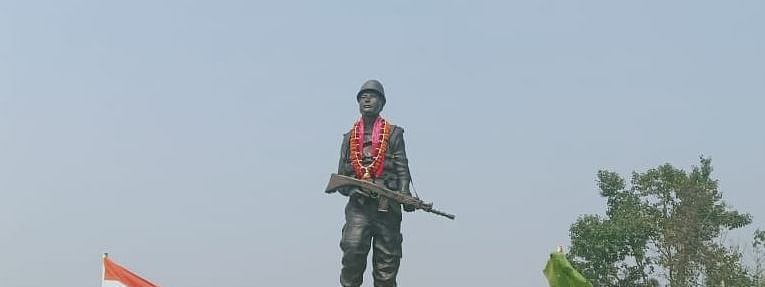 Statue of martyr Maneswar Basumatary  that has been constructed at his native village in Assam's Baksa district