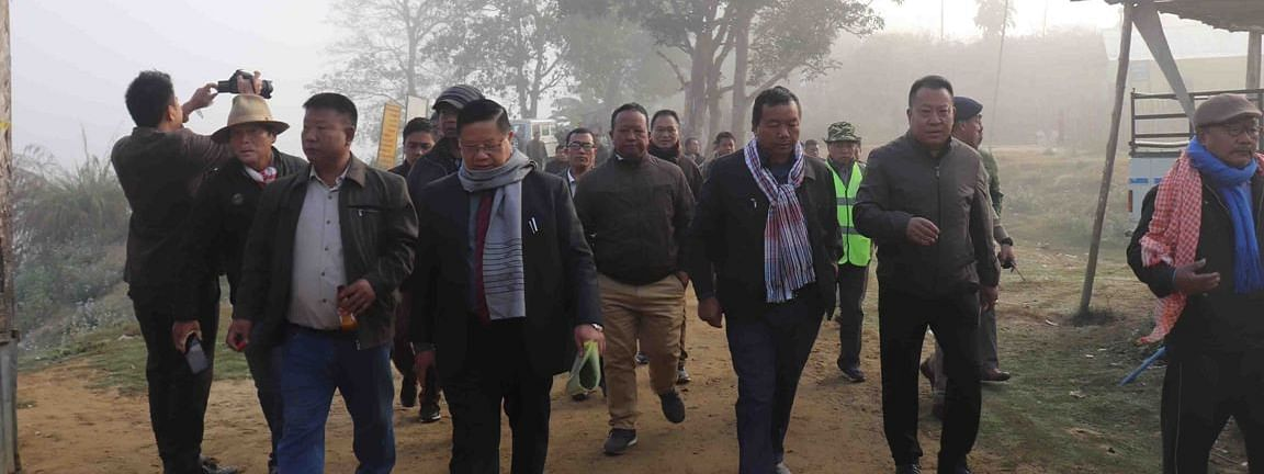 R Lalthangliana inspecting the site of Integrated Check Post in Lunglei district, Mizoram