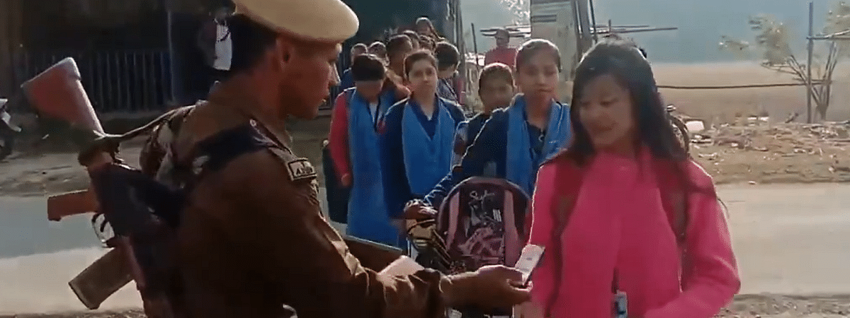 In the video that went viral on social media, policeman Ratul Gogoi is seen wishing the candidates of Board exams all the best