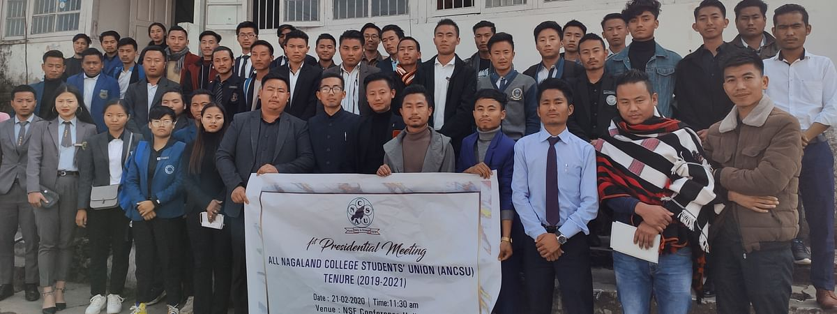 Student leaders from various colleges along with the ANCSU office bearers after the first presidential meeting held in Kohima on Friday