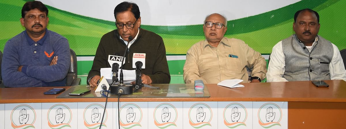 Tripura  Congress chief Pijush Kanti Biswas (second from left) addressing a press conference in Agartala