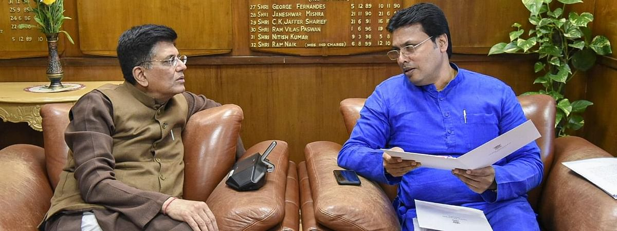 Union minister Piyush Goyal calls upon chief minister Biplab Kumar Deb in New Delhi