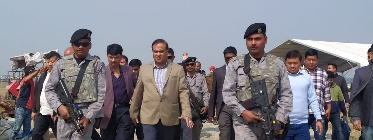 Assam finance minister Himanta Biswa Sarma taking stock of the preparations in Kokrajhar on Tuesday