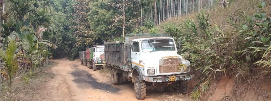 Some of the coal-laden trucks that were seized by police in Meghalaya's West Khasi Hills district