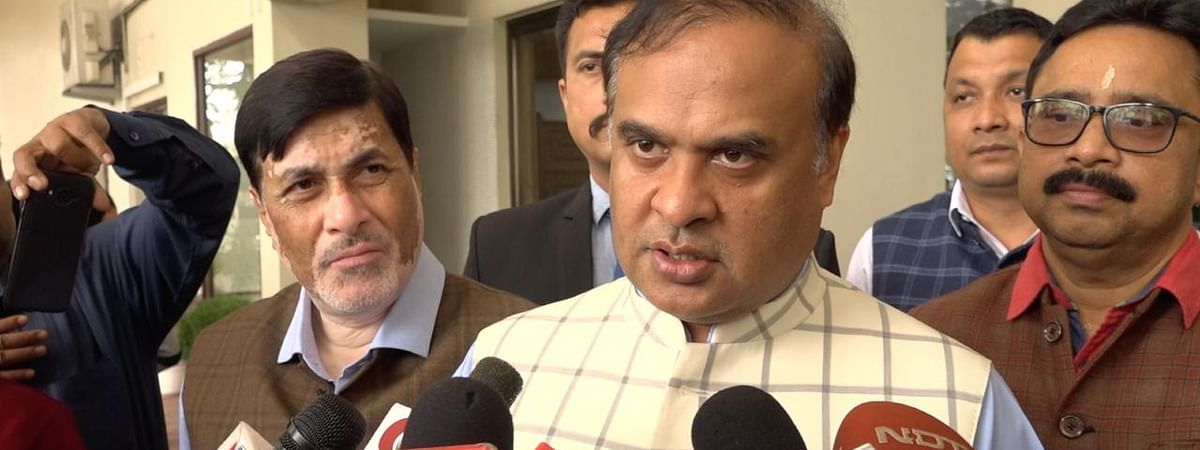 Assam finance minister Himanta Biswa Sarma interacting with media on Tuesday