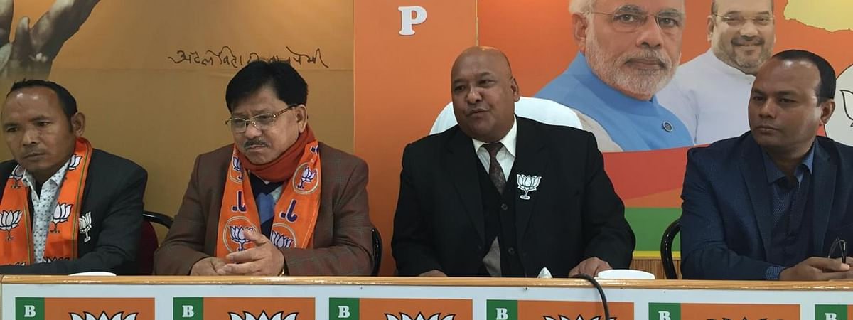 Meghalaya BJP president Ernest Mawrie with his colleagues addressing the media in Shillong on Tuesday