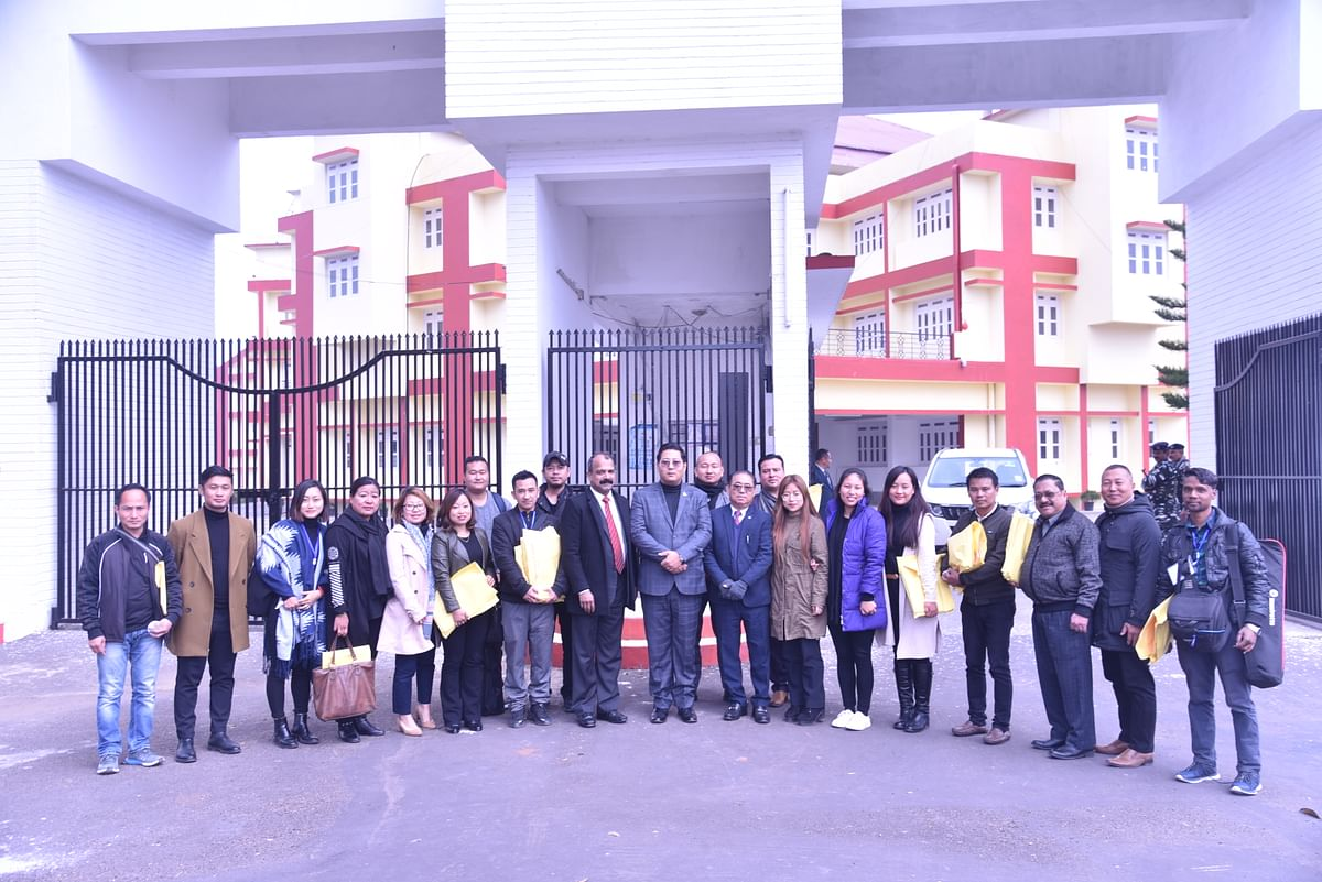 NLA Speaker Sharingain Longkumer (centre), Assembly secretary  PJ Anthony (left from centre), along with media persons outside the Nagaland Legislative Assembly on Saturday