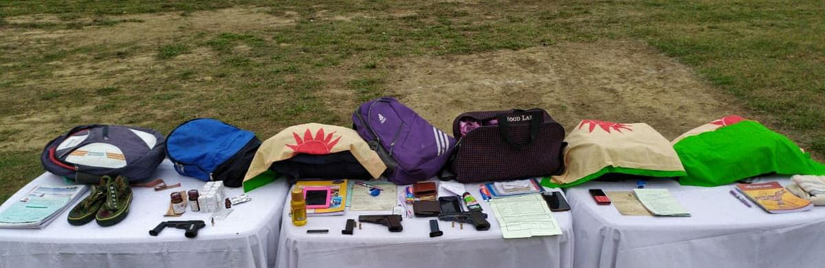 Some of the items rescued by security forces during the operation