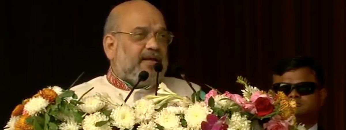 Union home minister Amit Shah addressing the gathering in Itanagar on the occasion of 34th Statehood Day on Thursday