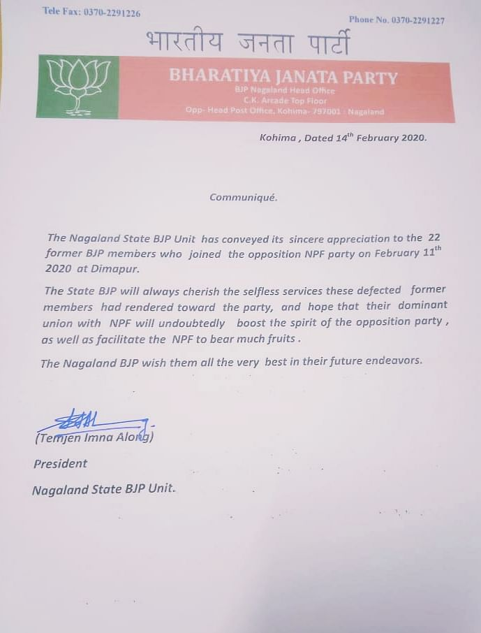 The communique issued by BJP state unit president Temjen Imna Along