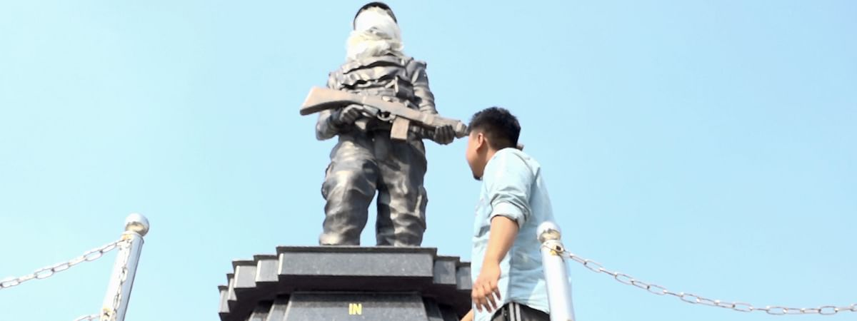 Statue of Maneswar Basumatary constructed at the martyr's final resting place at Tamulpur in Baksa district of Assam