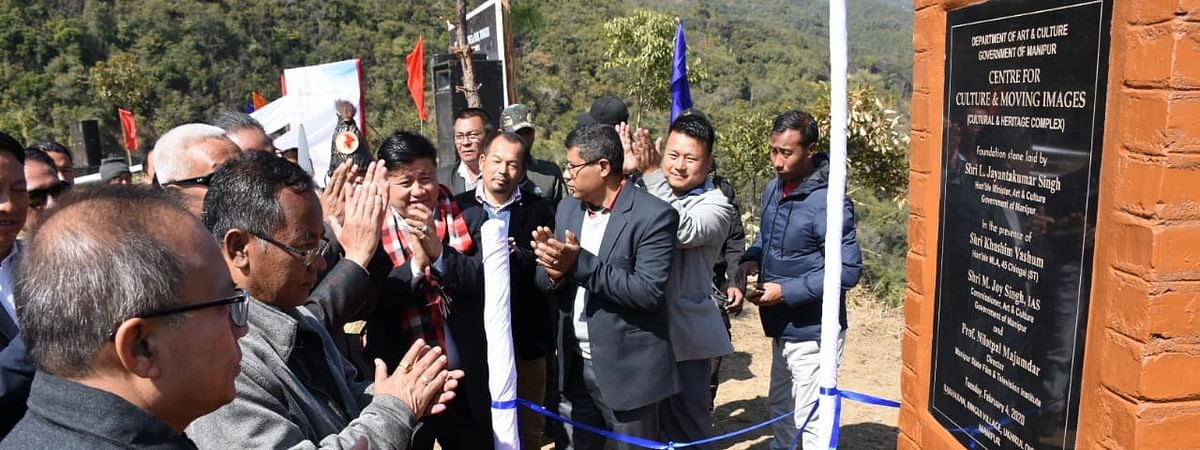 Manipur minister for art and culture L Jayantakumar Singh laying the foundation stone for Centre for Culture and Moving Images at Ringui village on Feb 4