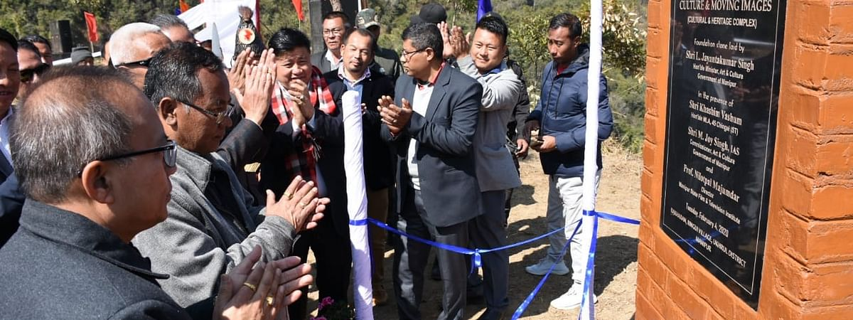 Minister for art and culture, L Jayantakumar Singh laying the foundation stone for Centre for Culture and Moving Images at Ringui village