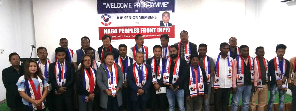 The former BJP members being felicitated at the NPF office in Kohima, Nagaland