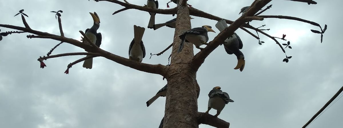 An artificial bombox tree build with hornbill birds in it at  Baramura eco-park