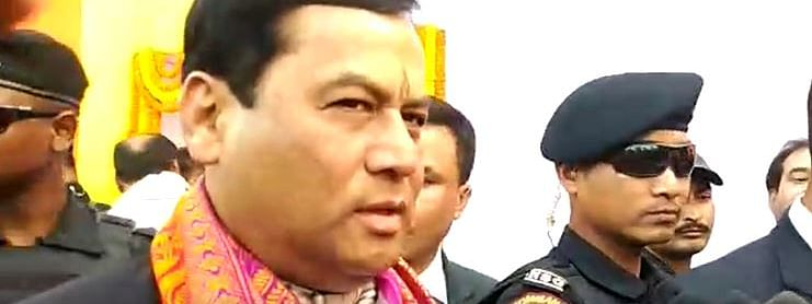 Assam chief minister Sarbananda Sonowal addressing media persons during his visit to Kokrajhar
