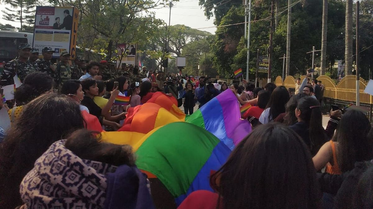 The pride walk also saw the participation of many people who didn't belong to the LGBTQIA+ community