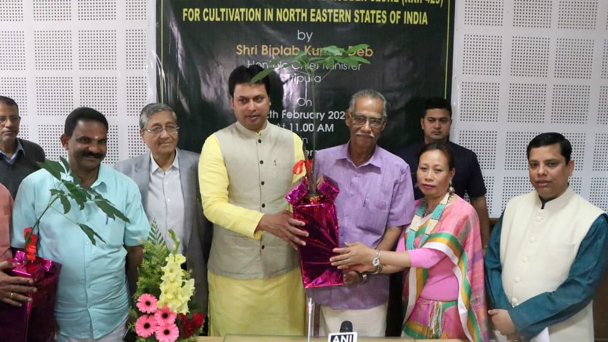 Chief minister Biplab Kumar Deb inaugurating the new cold and disease tolerant hybrid rubber clone 'RRII 429'