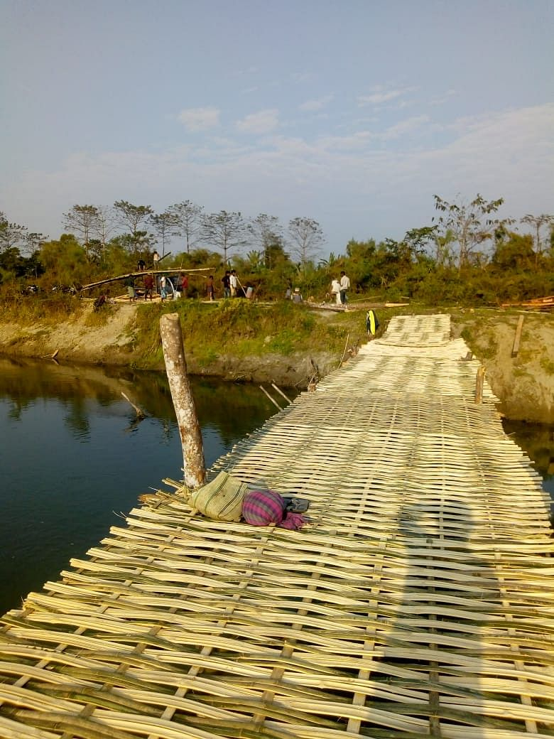 It took the local residents over a month to construct the bridge made of more than 4,000 bamboos