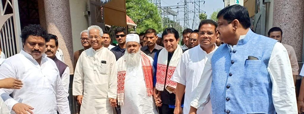 Ex-CM Tarun Gogoi, AIUDF chief Badruddin Ajmal and APCC president Ripun Bora accompany journalist Ajit Bhuyan while filing nomination for upcoming Rajya Sabha elections