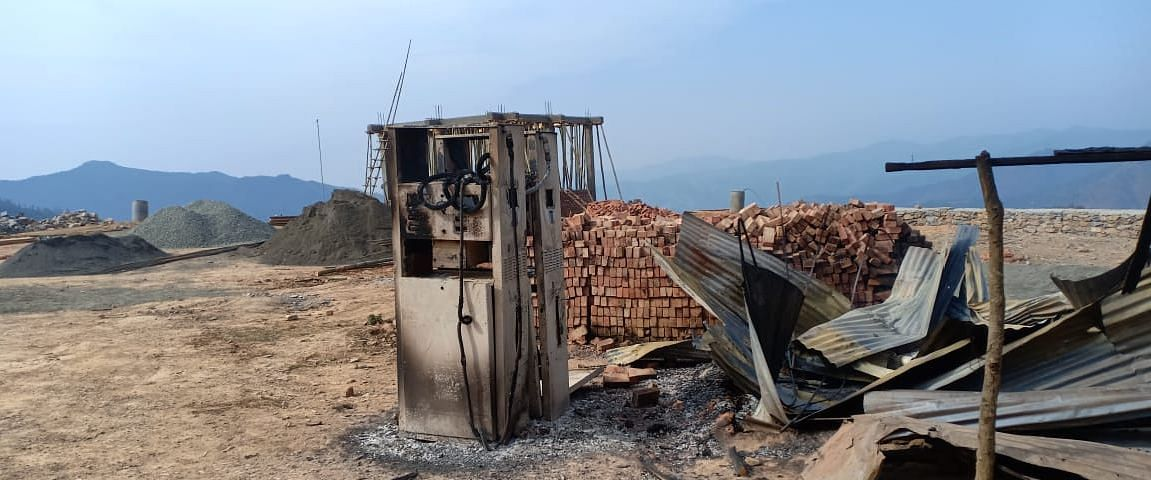 Angry mob allegedly burnt down an under-construction petrol pump in Chassad village of Manipur's Kamjong district