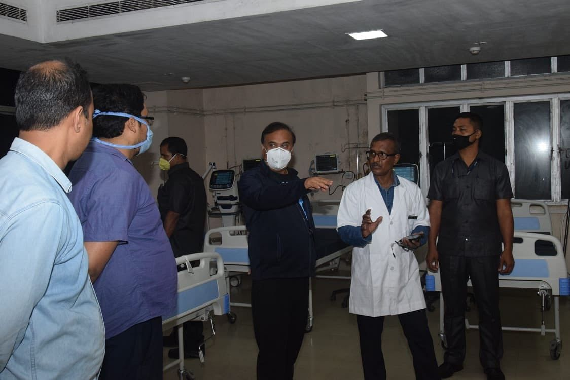 Assam health minister Himanta Biswa Sarma and other medical experts at the GMCH