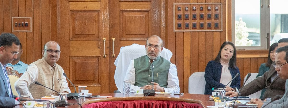 Manipur chief minister N Biren Singh reviewing the status of his government's preparedness ahead of Union home minister Amit Shah's visit to the state on March 15