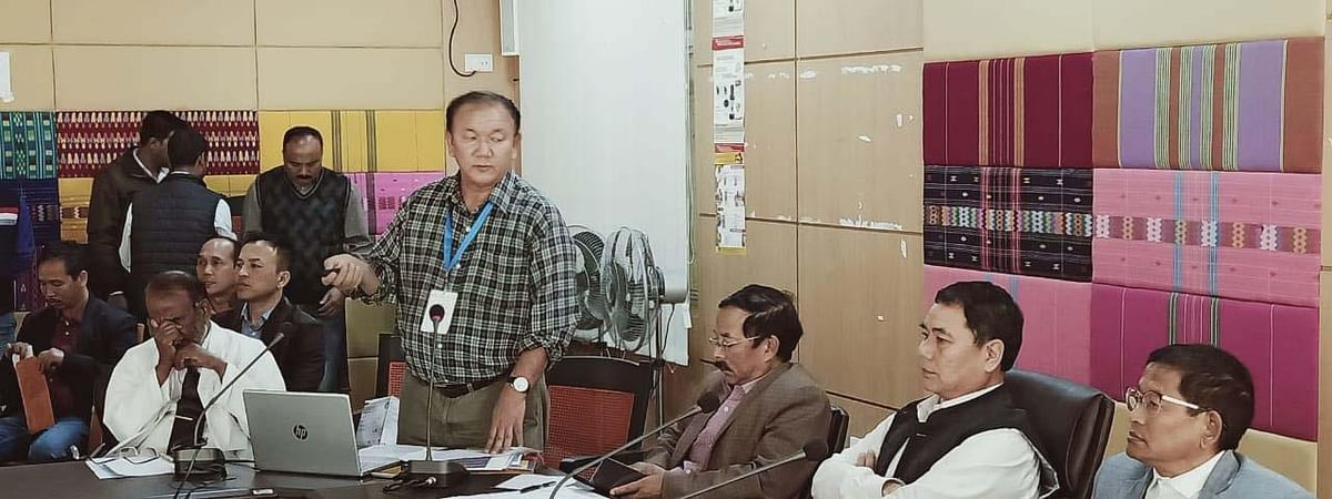 Arunachal Pradesh health minister Alo Libang conducting an emergency meeting at the directorate of health services in Naharlagun on Monday